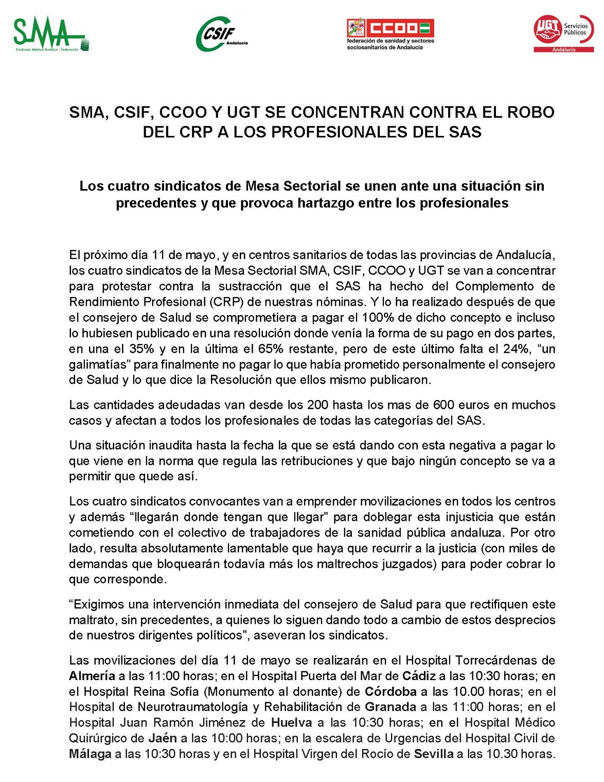CONCENTRACIÓN CONTRA EL ROBO DEL CRP A LOS PROFESIONALES DEL SAS