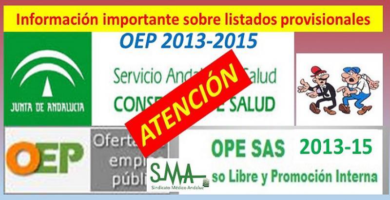 Información importante sobre los listados provisionales de aspirantes que han obtenido plaza en la OEP 2013-2015.