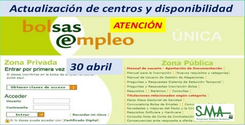 Bolsa Única: 30 de abril, próxima actualización de centros de destino y disponibilidades.