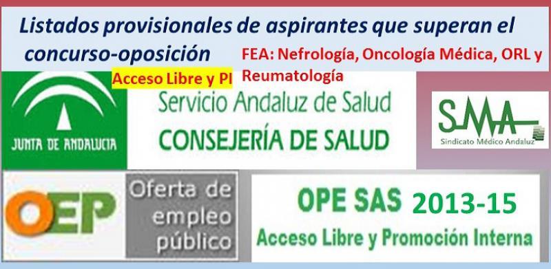OPE 2013-15. Listados provisionales de personas aspirantes que han superado el concurso-oposición acceso libre y PI de FEA de Nefrología, Oncología Médica, ORL y Reumatología.