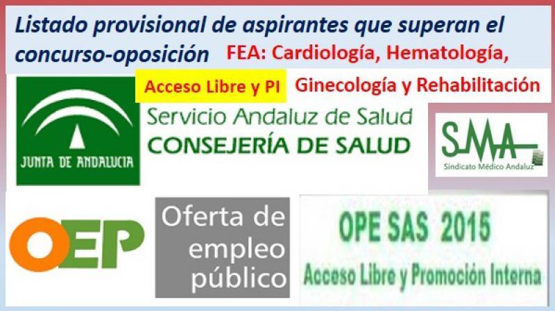 OPE 2013-2015. Listado provisional de aspirantes que han superado el concurso-oposición por acceso libre y PI de FEA de Cardiología, Hematología, Ginecología y Rehabilitación.