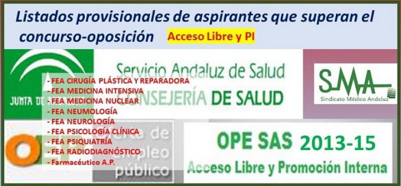 OPE 2013-2015. Listado provisional de aspirantes que han superado el concurso-oposición por acceso libre de Farmacéutico de A.P. y varias especialidades de FEA