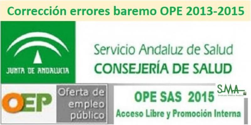 Corrección de errores de las convocatorias del concurso-oposición para cubrir plazas básicas vacantes dependientes del SAS (OEP 2013-2015)