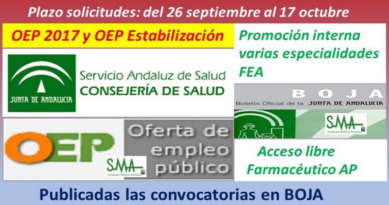 Publicadas en el Boja las convocatorias de OEP 2017, promoción interna, de varias especialidades FEA  y OEP estabilización, acceso libre, de Farmacéutico de AP.