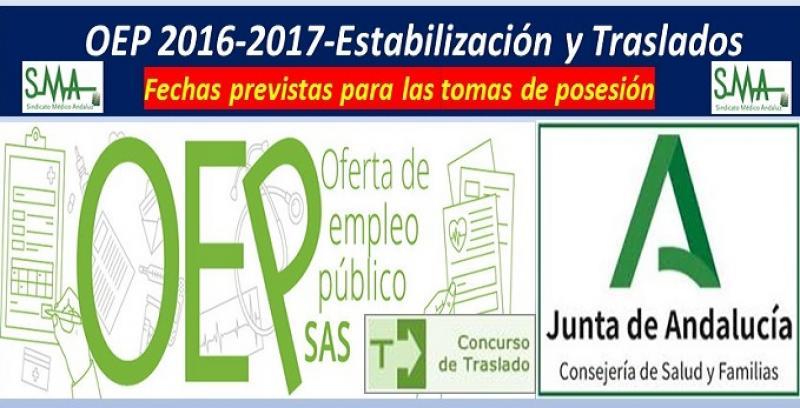 Previsiones de fechas para las tomas de posesión de la OEP 2016-2017-Estabilización y C. Traslados.
