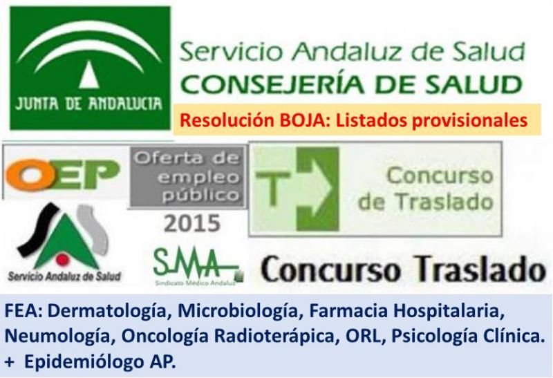 Publicado en el BOJA una resolución del Concurso de Traslado OPE 2013-2015 con listados provisionales de 8 especialidades médicas.