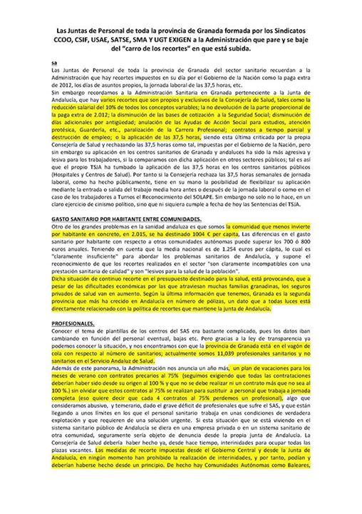 Manifiesto Juntas de Personal Granada 1