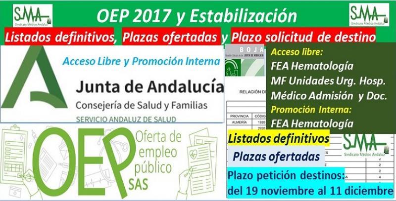 Publicadas en el BOJA la aprobación de listados definitivos, la relación de las plazas ofertadas y el plazo para solicitar destino de la OEP 2017-Estabilización de FEA Hematología (libre y p.i) y de M F en Unidades Urgencia Hosp. y Médico de Admisión.