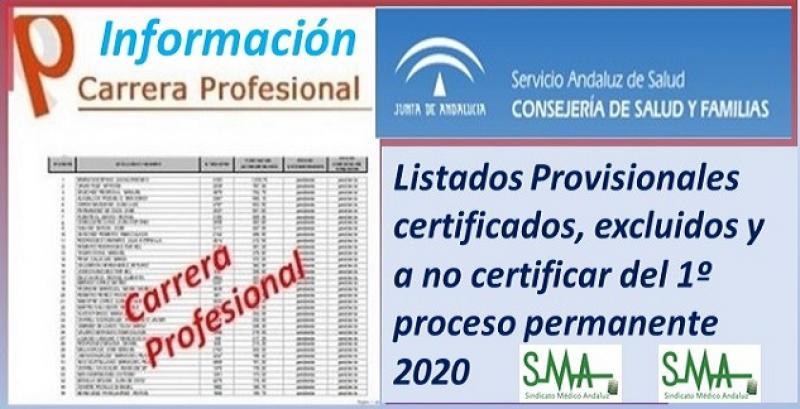 Carrera Profesional: Listados provisionales de profesionales certificados y excluidos del Primer Proceso de Certificación de 2020.