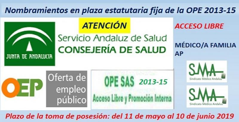 Publicados en el Boja los nombramientos como personal estatutario fijo de Médico/a de Familia AP, acceso libre.