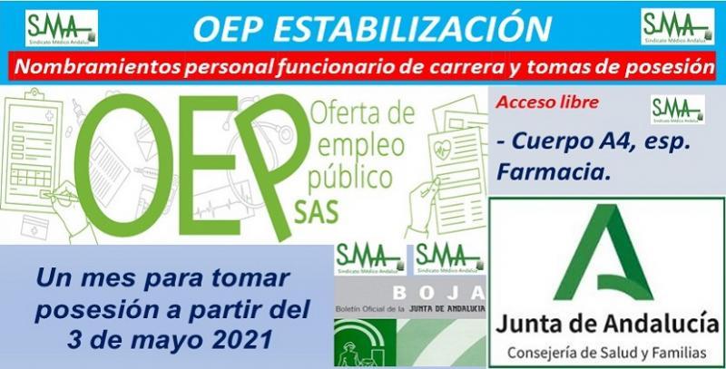OEP Estabilización. Publicados en el BOJA los nombramientos de personal funcionario de carrera y toma de posesión del Cuerpo A4, especialidad Farmacia.