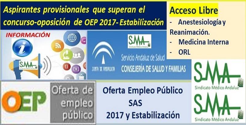 Aprobados los listados provisionales de personas opositoras que superan el concurso-oposición de varias especialidades de FEA de la OEP 2017-Estabilización.