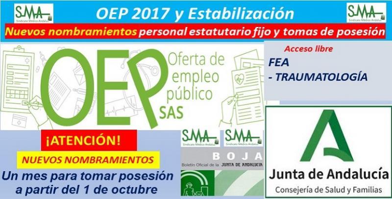 OEP 2017 y Estabilización: Publicada en BOJA, la relación complementaria de nuevos nombramientos de FEA de Traumatología.