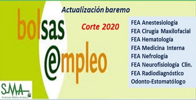 Bolsa. Publicación de listas de aspirantes con actualización del baremo de méritos (corte 2020) de varias especialidades de FEA y de Odontoestomatólogo.
