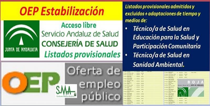 Listados provisionales de admitidos y excluidos en la OEP de Estabilización de Técnico/a de Salud en Educación para la Salud y Participación Comunitaria y en Sanidad Ambiental por acceso libre.