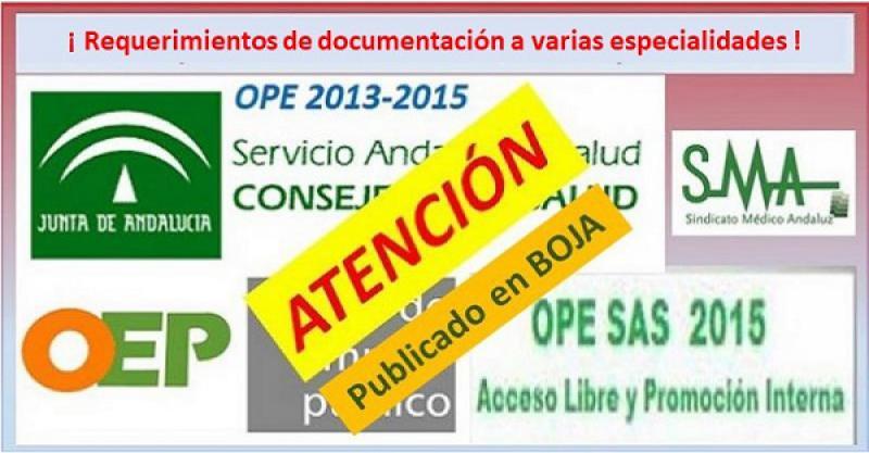OPE 2013-2015. Publicados requerimientos de documentación a candidatos de varias especialidades