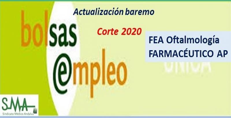 Bolsa. Publicación de listas de aspirantes con actualización del baremo de méritos (corte 2020) de FEA de Oftalmología y de Farmacéutico de AP.