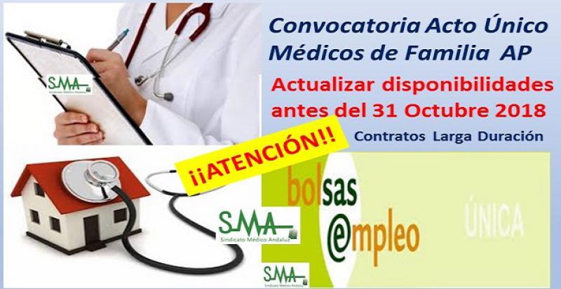 Convocatoria para Médicos de Familia en acto único para cubrir nombramientos de larga duración en AP.