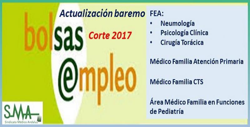 Bolsa. Publicación de listas de aspirantes con actualización del baremo de méritos (corte 2017) de FEA Neumología, Psicología Clínica, Cia. Torácica; Médico de Familia AP, CTS y en funciones de Pediatría.