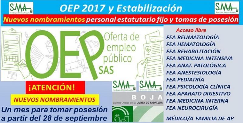 OEP 2017 y Estabilización: Publicada en BOJA, la relación complementaria de nuevos nombramientos de distintas especialidades de FEA y Médico/a de Familia de A.P.