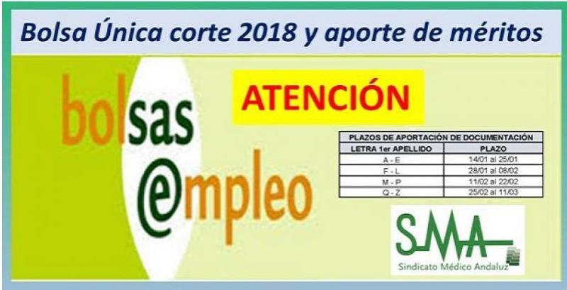 BOLSA ÚNICA: APORTACIÓN POR TRAMOS DE APELLIDOS DE LA DOCUMENTACIÓN PARA EL CORTE DE 2018.