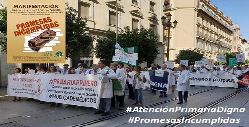 El Sindicato Médico Andaluz y Basta Ya Andalucía reivindican una Atención Primaria digna en Sevilla.