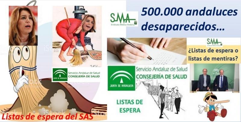 El PSOE ocultaba medio millón de andaluces en las listas de espera del Servicio Andaluz de Salud.