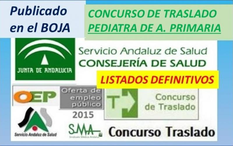 Publicada en el BOJA la Resolución con los listados definitivos del C. de Traslado de Pediatra de Atención Primaria.