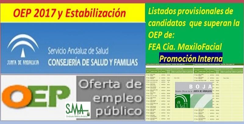OEP 2017-Estabilización. Disponible el listado provisional de personas que superan el concurso-oposición correspondientes a FEA en Cirugía Oral y Maxilofacial, promoción interna.