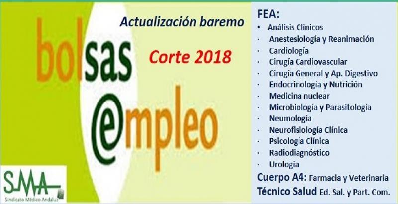 Bolsa. Publicación de listas de aspirantes con actualización del baremo de méritos (corte 2018) de diferentes especialidades de FEA, Cuerpo A4 y TS.