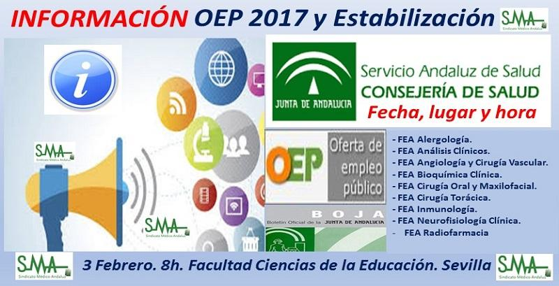Publicados en BOJA los listados de admitidos, adaptaciones, fecha y lugar de celebración de los exámenes de la OEP 2017 y OEP de Estabilización para 9 especialidades de FEA.