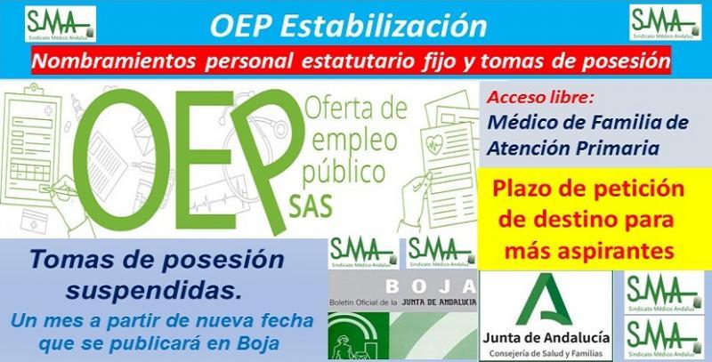 OEP Estabilización. Nombramientos de personal estatutario fijo y plazo de solicitud de destinos a nuevos aspirantes de Médico de Familia de Atención Primaria, acceso libre.