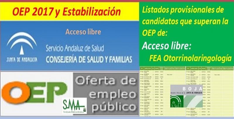 OEP 2017-Estabilización. Listado provisional de personas que superan el concurso-oposición de FEA Otorrinolaringología (acceso libre).