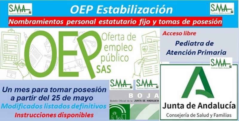 OEP Estabilización. Listas definitivas y nombramientos de personal estatutario fijo y toma de posesión, de Pediatra de Atención Primaria, acceso libre.