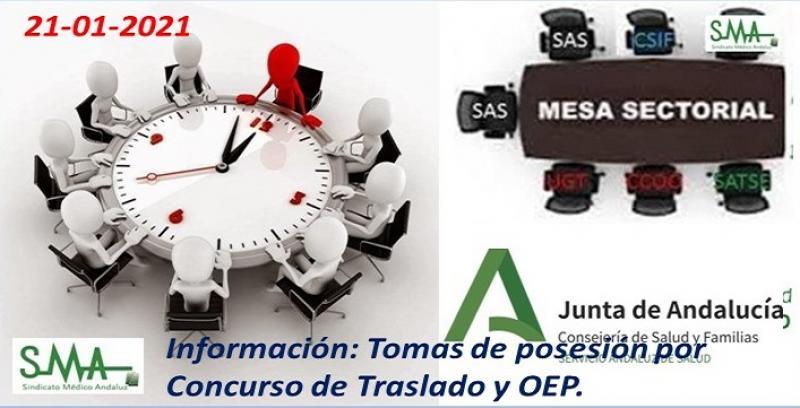 Mesa sectorial 21-1-21: Información sobre las tomas de posesión por Concurso de Traslado y OEP.