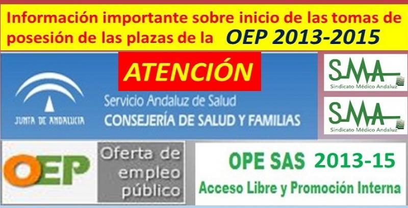 Previsiones del SAS para el inicio de las tomas de posesión de las plazas de la OPE 2013-2015.