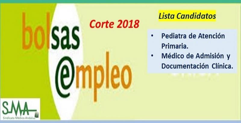 Bolsa. Listas definitivas de candidatos (corte 2018) de Pediatra de Atención Primaria y Médico de Admisión.