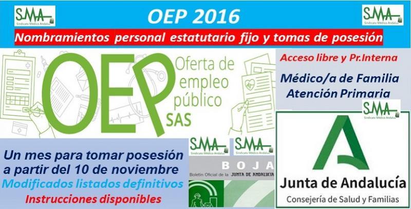 OEP 2016. Nombramientos de personal estatutario fijo y toma de posesión, de Médico/a de Familia de Atención Primaria (acceso libre y promoción interna).