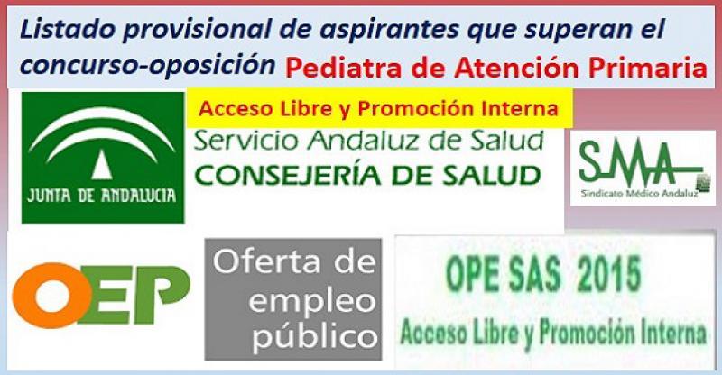 OPE 2013-2015. Listado provisional de aspirantes que han superado el concurso-oposición por acceso libre y PI de Pediatra de AP.