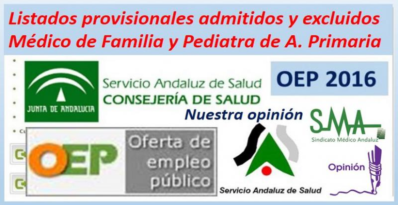 Publicados los listados provisionales de admitidos y excluidos en la OEP 2016 de MF y Pediatría de AP. Y nuestra opinión...
