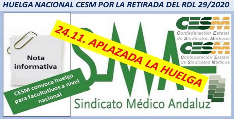 24-11. Aplazada la jornada de huelga médica nacional, debido a la pandemia.