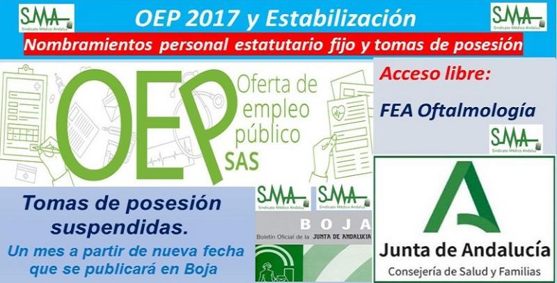 OEP 2017-Estabilizacion. Nombramientos de personal estatutario fijo y toma de posesión, de FEA de Oftalmología, acceso libre.