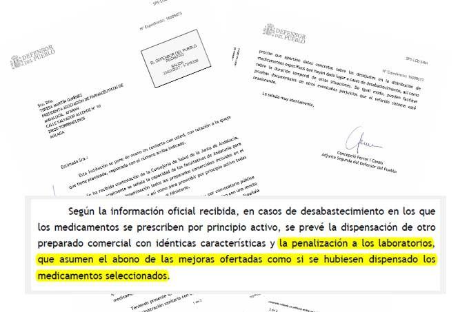Extracto de la carta remitida por el Defensor del Pueblo a Afarán, en relación a la queja por el desabastecimiento de las subastas andaluzas