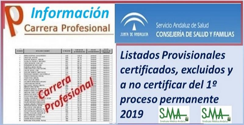 Carrera Profesional: Listados provisionales de profesionales certificados y excluidos del Primer Proceso de certificación de 2019.