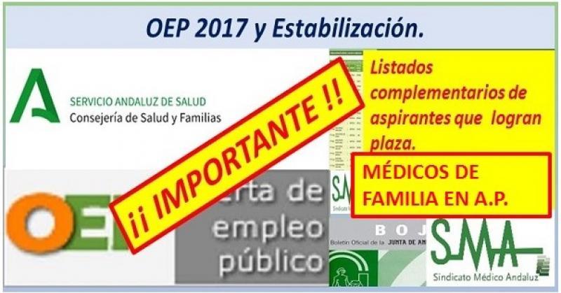 Hoy se publica el listado de nuevos nombramientos de OPE para Médicos de Familia de A.P.