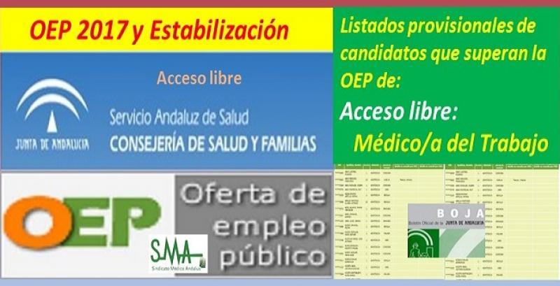 OEP 2017-Estabilización. Listado provisional de personas que superan el concurso-oposición de Médico/a del Trabajo (acceso libre).