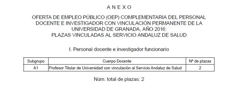 2 plazas de Profesor Titular de la U. Granada con vinculación al SAS