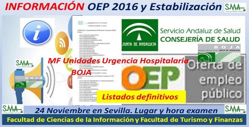 Publicados en BOJA los listados de admitidos, adaptaciones, fecha y lugar de celebración de los exámenes de la OEP 2016 y Estabilización para Médico de Familia en Unidades de Urgencia Hospitalaria.