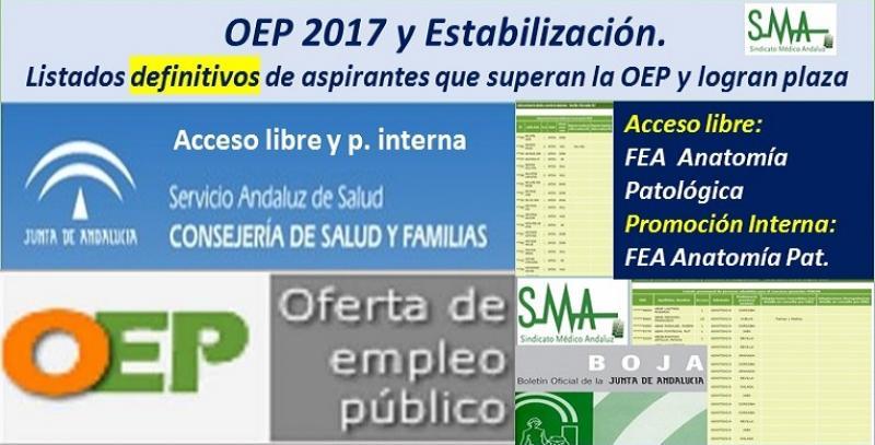 OEP 2017-Estabilización. Listados definitivos de personas aspirantes que superan el concurso-oposición y logran plaza, de FEA Anatomía Patológica, acceso libre y promoción interna.