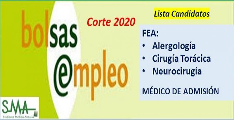 Bolsa. Listas definitivas de candidatos (corte 2020) de FEA de Alergología, Cirugía Torácica, Neurocirugía y Médico Admisión.